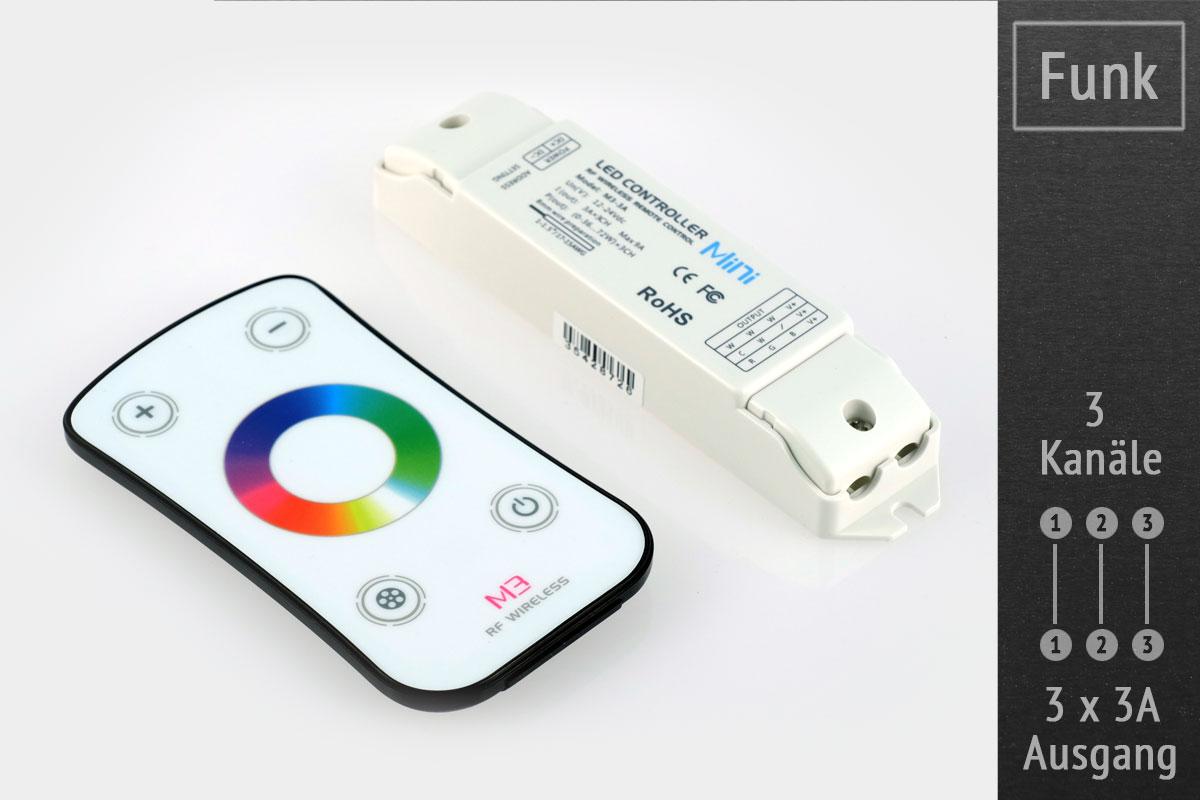 RGB-LED-Controller (Funk) 12-24V, 3x3A, mit RF-Touch-Fernbedienung