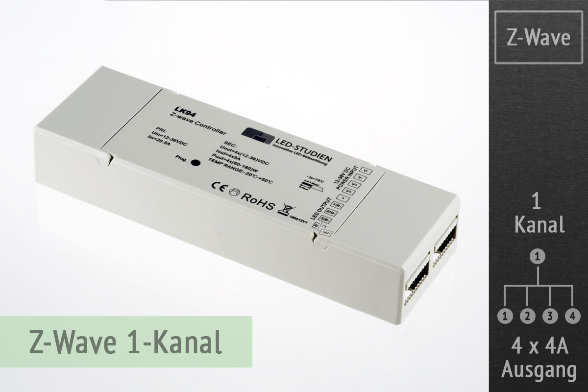 Z Wave Rgbw Led Controller Mit 4x4 Ampere Ausgang 1 Kanal
