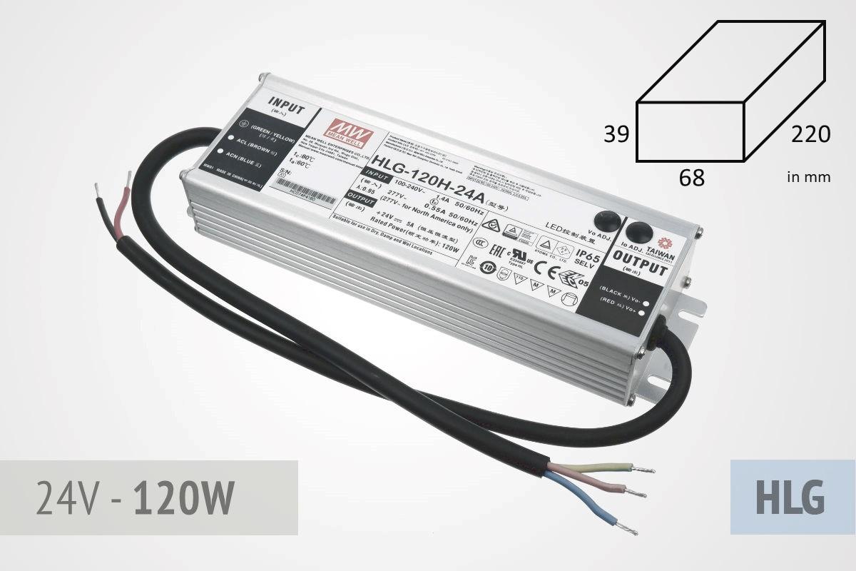Netzteil HLG 24V - 5A - 120 Watt, extrem leise