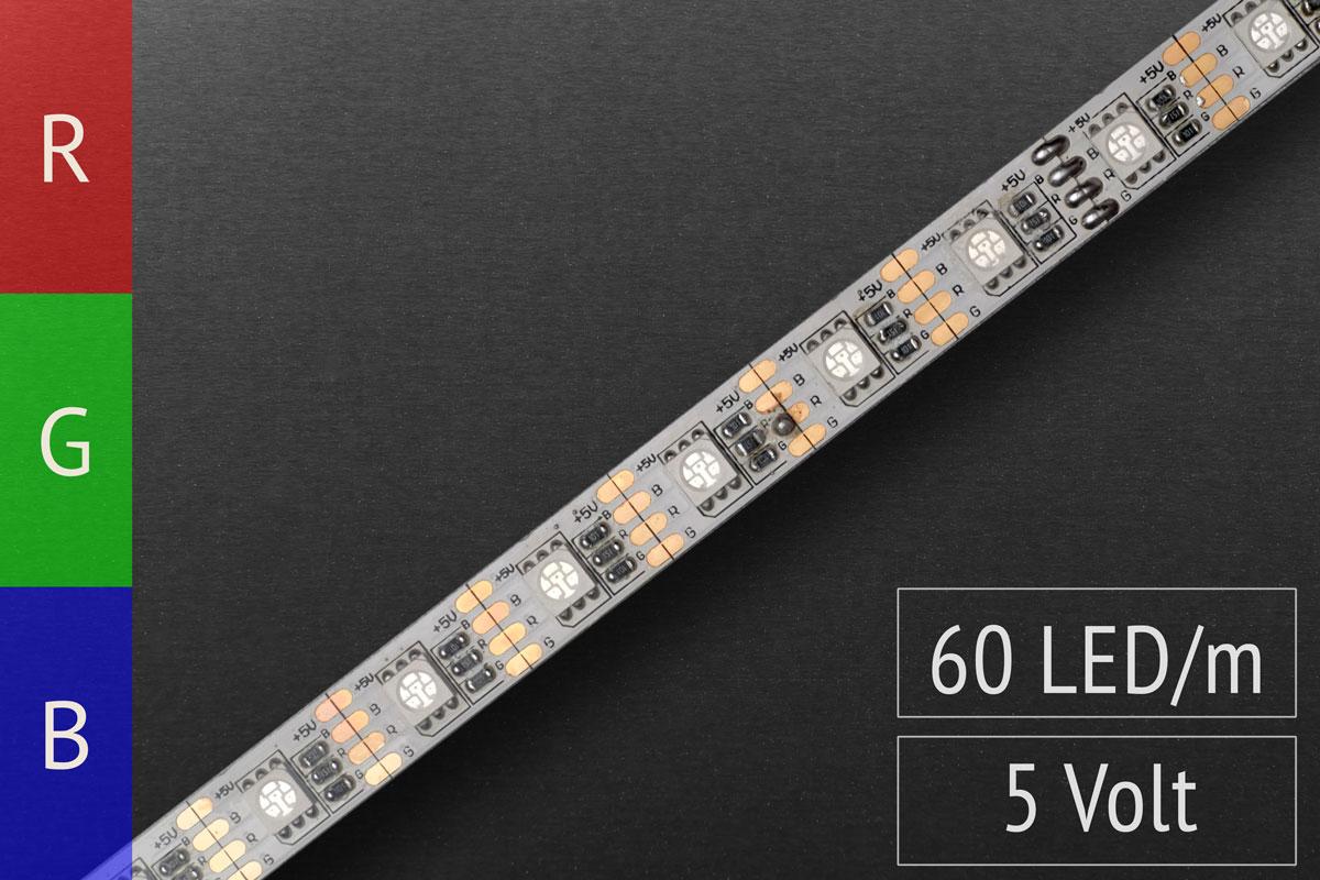 1m LED-Streifen RGB 3in1 5 Volt: 60 LEDs/m - 18 W/m