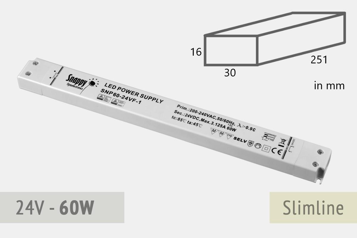 Slimline Schaltnetztei 24V, 2,5A,  60 Watt