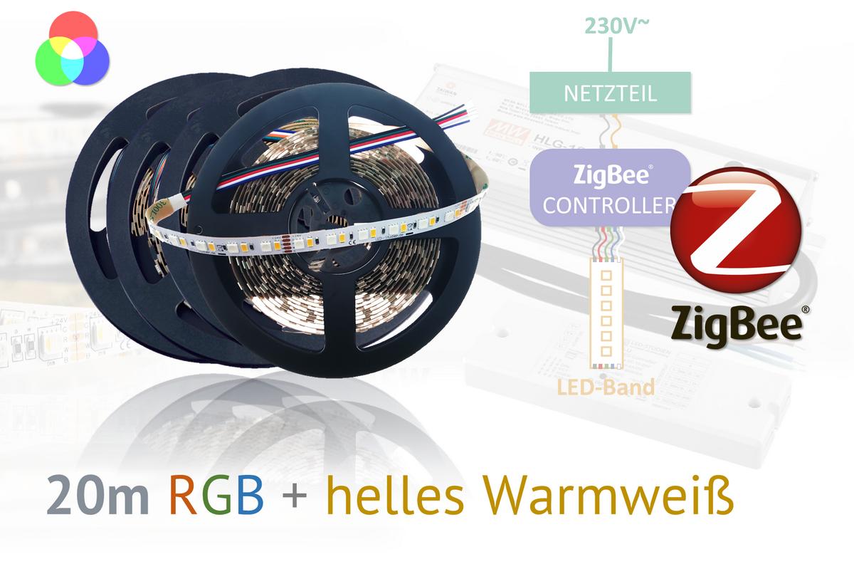 ZigBee RGB+W LED-Set: 20 Meter