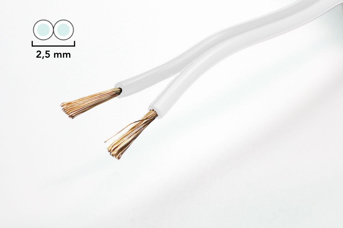 Zwillingslitze 2,5 mm² weiß