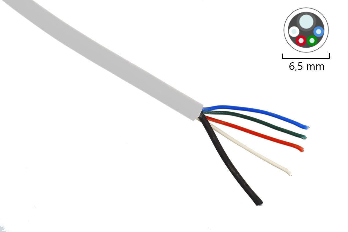 RGBW-Kabel 4x0,35mm² +1x1,0mm² - weiß
