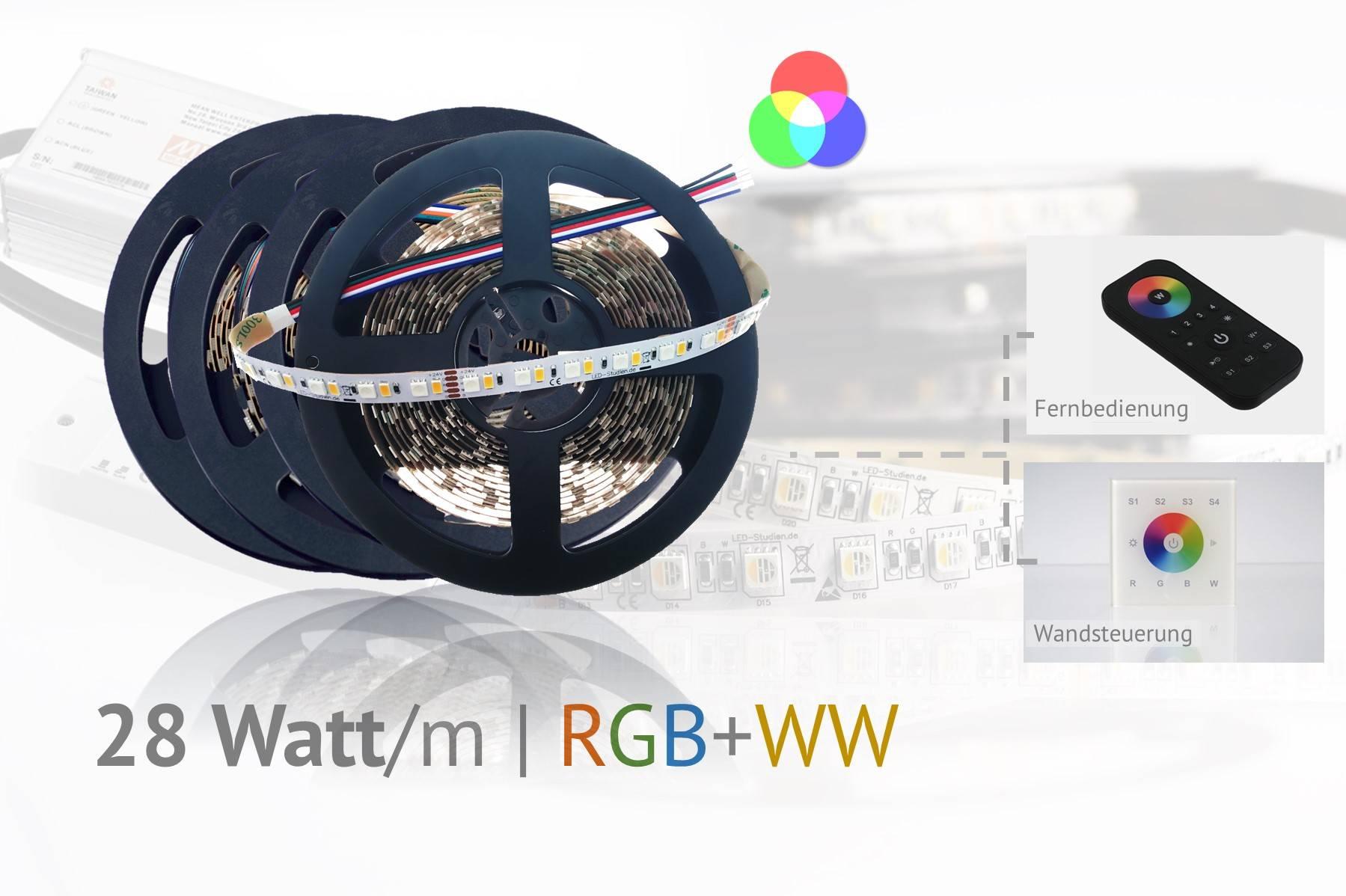 Set für helle Hauptbeleuchtung plus Farbeffekte, RGB+WW